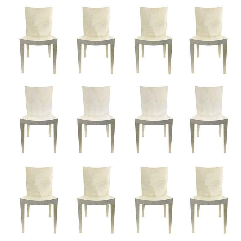 12 Karl Springer Jmf Dining Chairs In Goatskin For