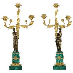 Pair of Empire Style Bronze and Malachite Figural Candelabra, 19th Century