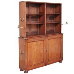 Rare 19th Century Military Campaign Teak Bookcase