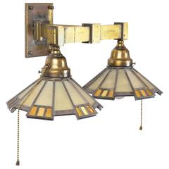 Cast Brass Mission Two-Arm Sconce with Art Glass Shades, circa 1908