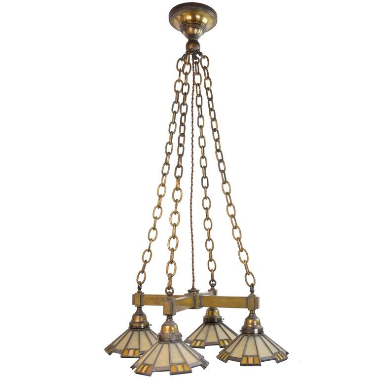 Cast Brass Mission Chandelier with Four Art Glass Shades