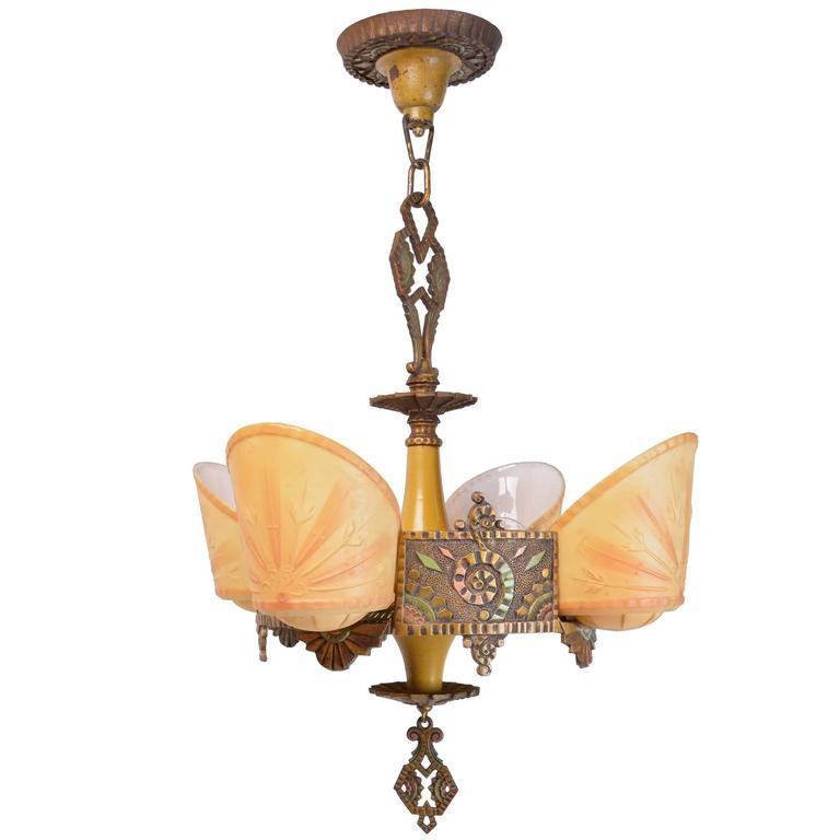 Beardslee williamson polychrome art deco slip shade chandelier for beardslee williamson polychrome art deco slip shade chandelier for sale aloadofball Gallery