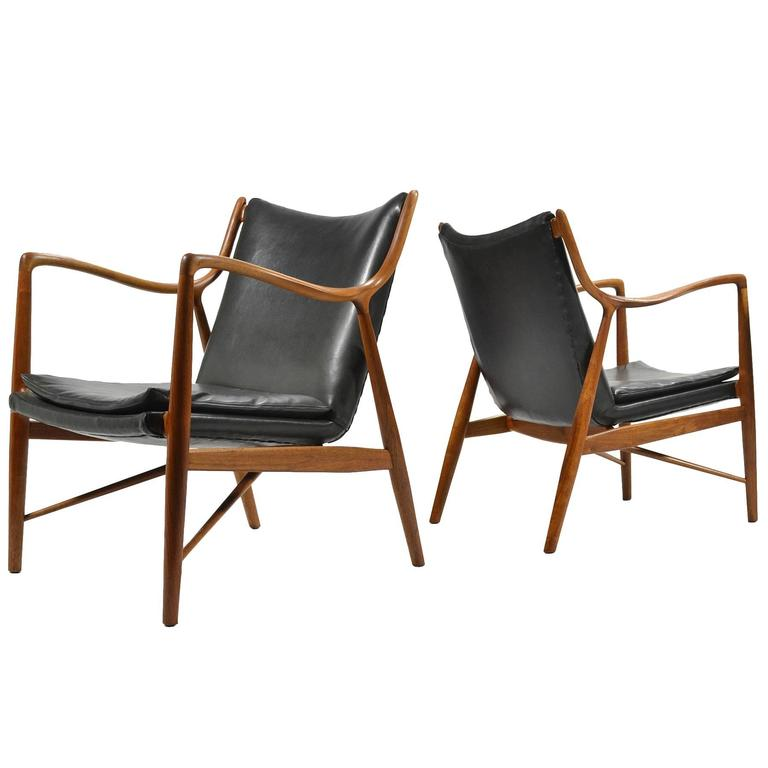 Finn Juhl Pair of No. 45 Easy Chairs 1