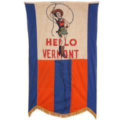 Vintage Advertising Banner, Hello Vermont Cowboy Show, All Original, 1930s
