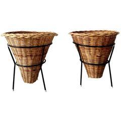 Pair of Wicker Baskets Attributed to Dirk Van Sliedregt for Rohé Noordwolde