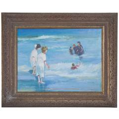 American Impressionist Oil on Canvas of Ocean Play