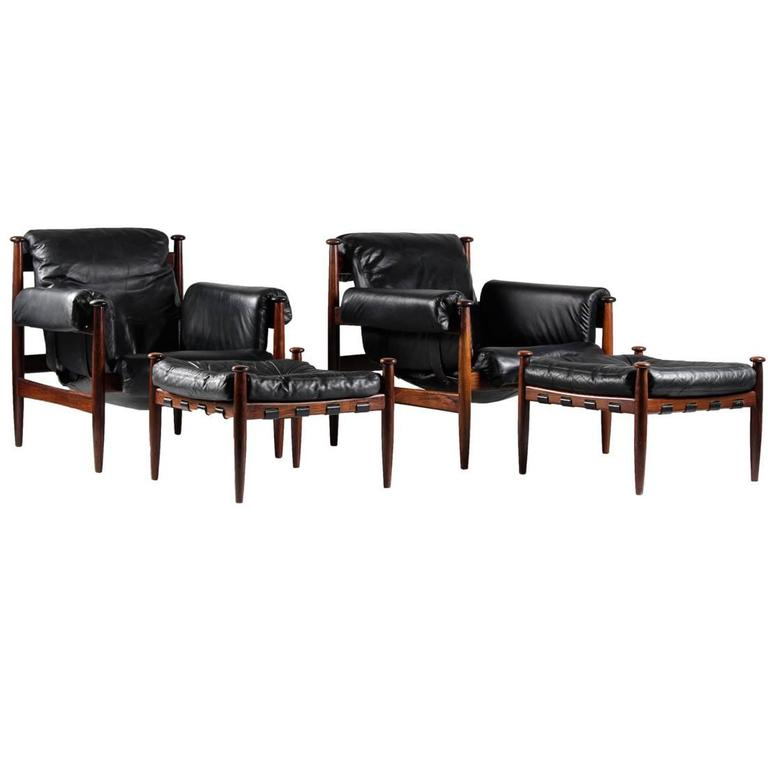 Delicieux Pair Of Scandinavian Leather And Rosewood Lounge Chairs By Eric Merthen For  Ire For Sale