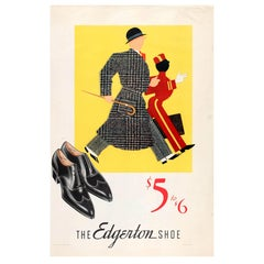 Original Vintage 1935 Advertising Poster for the Edgerton Shoe for Men $5 to $6