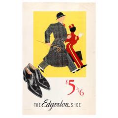 Original Vintage 1935 Advertising Poster for the Edgerton Shoe for Men $5 to $6
