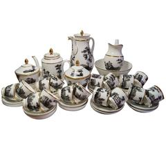 Hand-Painted Black and Sepia 'Old Paris' Porcelain Coffee and Tea Service