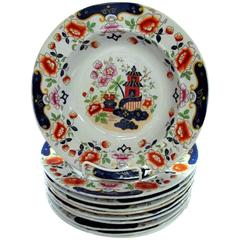 Set of Ten Antique English Hicks, Meigh & Johnson Ironstone Rim Soup Plates