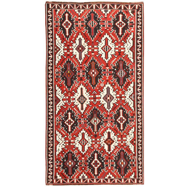 Caucasian Kilim Rug: Antique Caucasian Kuba Kilim Rug For Sale At 1stdibs