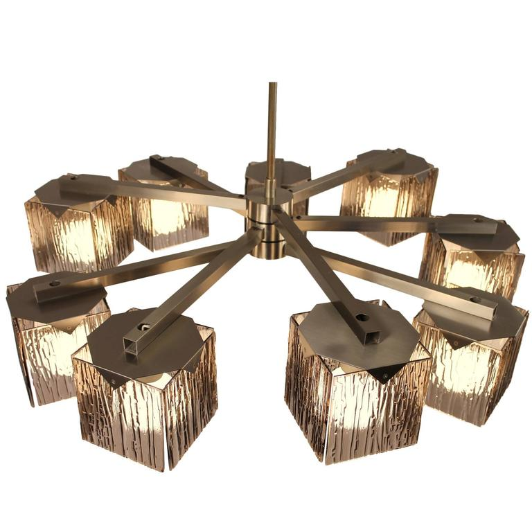 Exclusive arredoluce 9 arm chandelier stainless steel and for Arredo luce