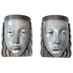 Pair of Retro American Pewter Wall Lights, circa 1970