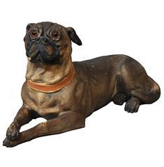 Austrian Late 19th Century Reclining Terracotta Pug Dog