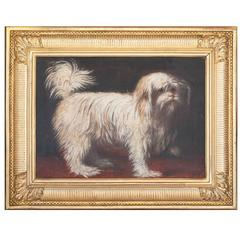 Charming 19th Century Oil on Canvas Painting of a Small White Dog in Gilt Frame