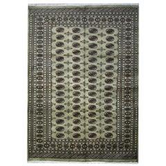 Handmade Large Rugs from Bukhara, Green Rug Pakistani Wool Carpet