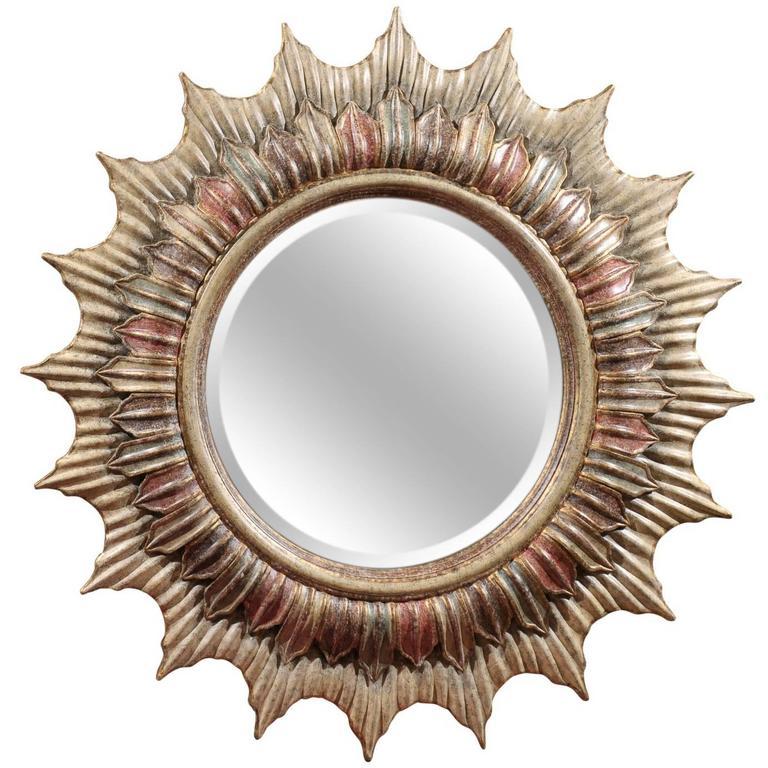 Large Hollywood Regency Polychrome Sunburst Mirror For Sale
