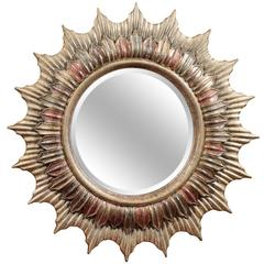Large Hollywood Regency Polychrome Sunburst Mirror