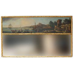 Late 18th Century English Giltwood Trumeau Mirror