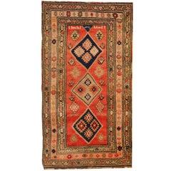 Antique Rugs Rustic Caucasian Handmade Carpet Red Rugs for Sale