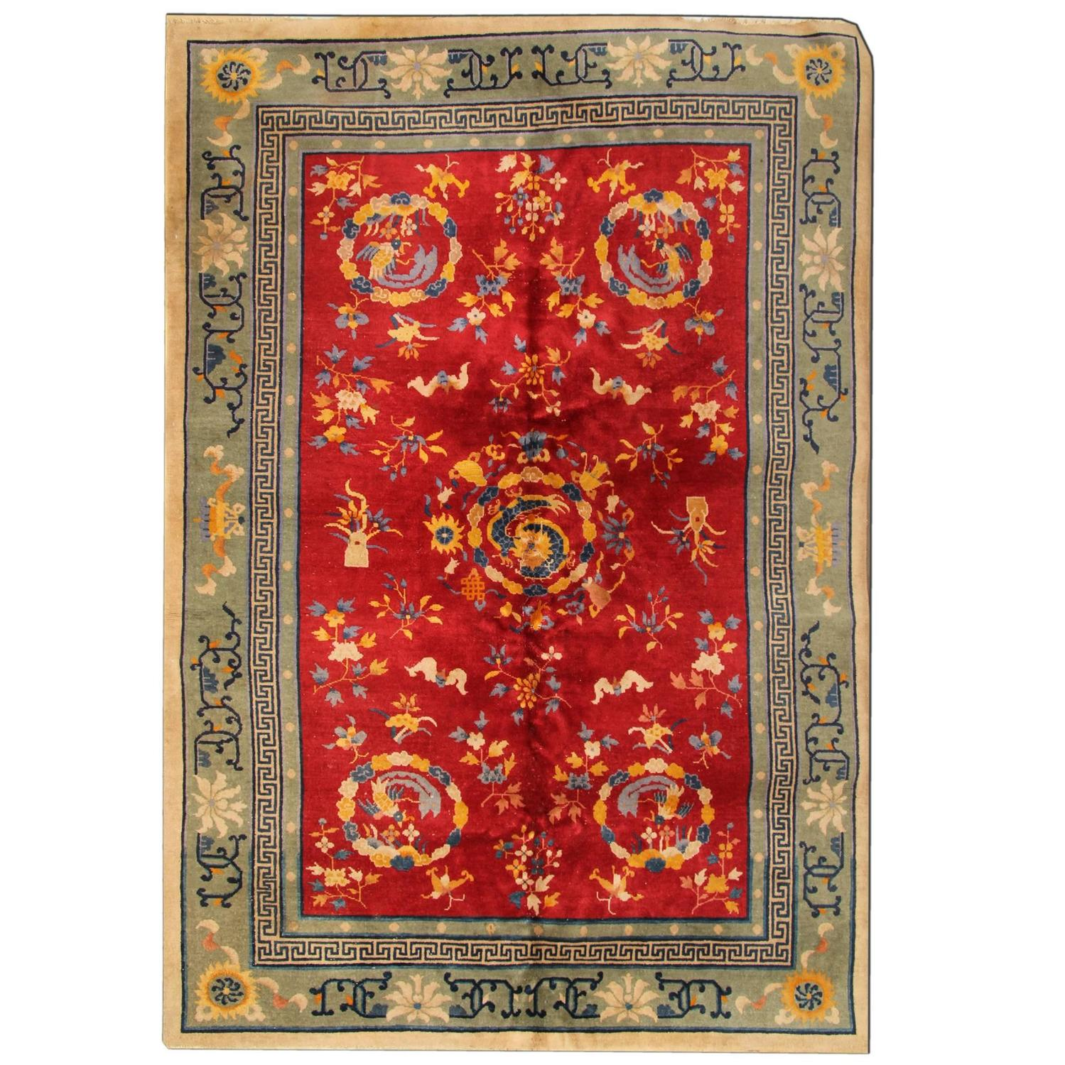 Antique Chinese Rug: Antique Chinese Rug From Tebat For Sale At 1stdibs