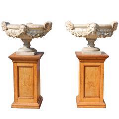 Pair of Fine 19th Century Italian Marble Tazza Urns