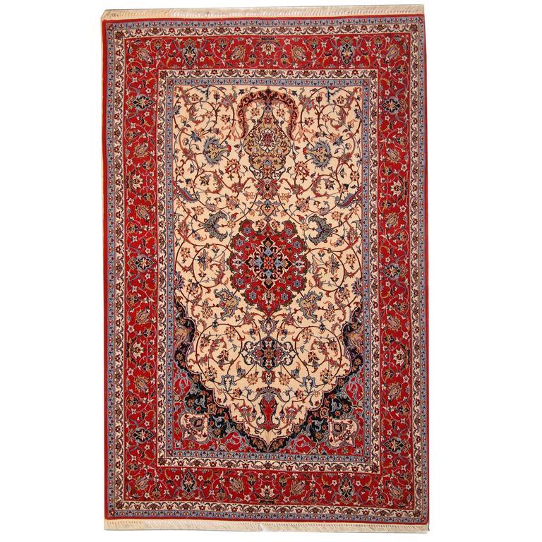 Vintage Persian Rug from Isfahan Silk Rug
