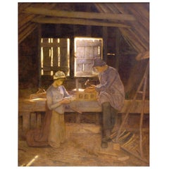 'Bucolic Joinings' Painting by Lexden Lewis Pocock