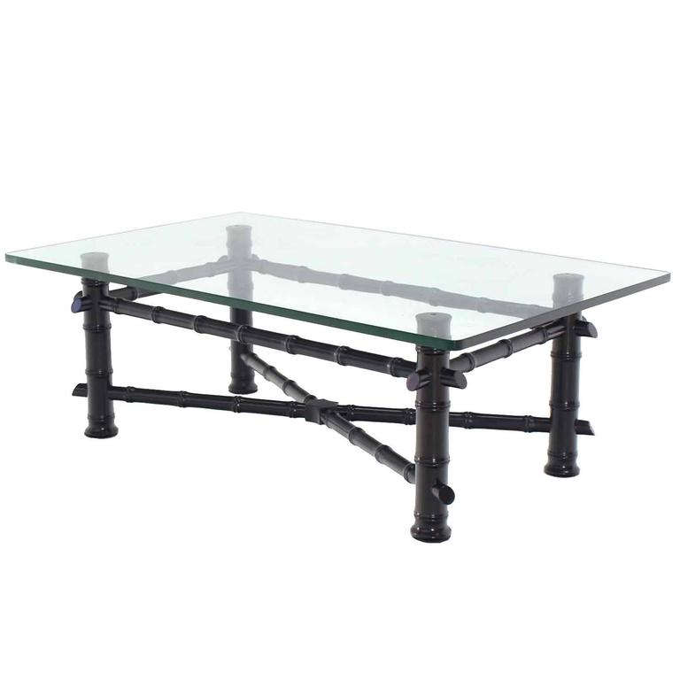 Faux Bamboo Black Lacquer Glass Top Coffee Table For Sale At 1stdibs