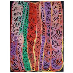 Brightly Colored Australian Aboriginal Acrylic Painting on Canvas