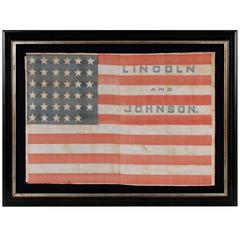 35 Stars in a Notched Pattern on a Flag Made for the Lincoln & Johnson Campaign