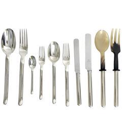 Sterling Silver Italian Design Silver Flatware Set, Antonio Piva Designer, 1970