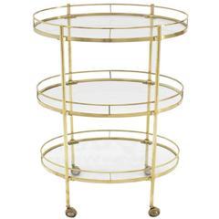 Three-Tier Brass Oval Tea Serving Cart
