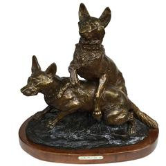 French Thomas Francois Cartier Bronze Sculpture of Two Dogs