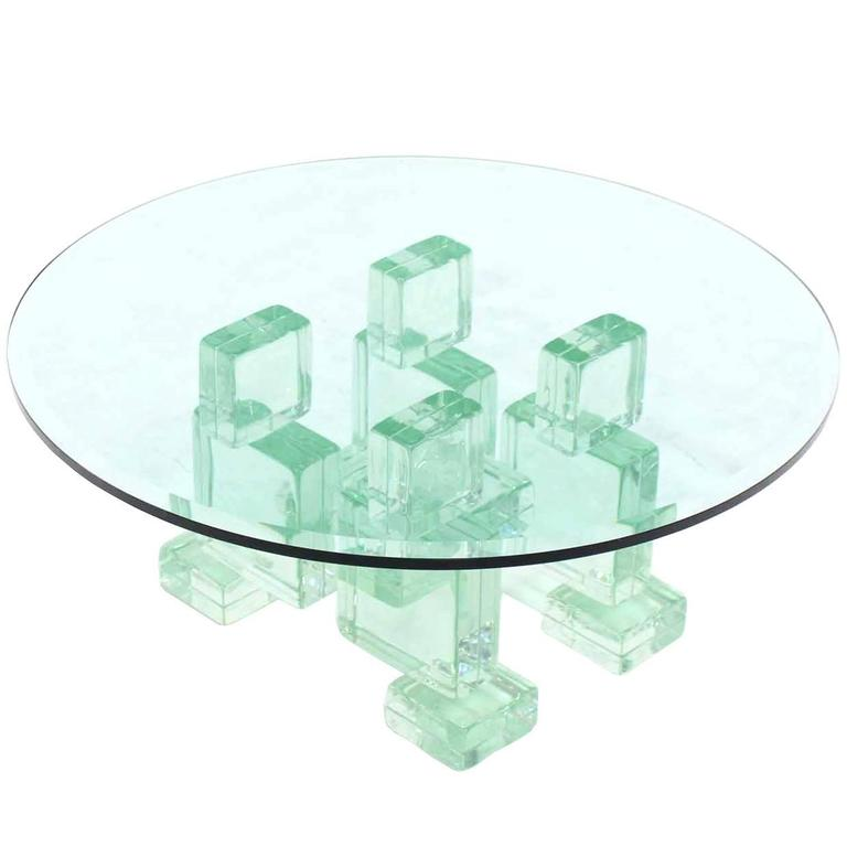 Thick heavy solid glass blocks glass top coffee table for for Heavy glass coffee tables