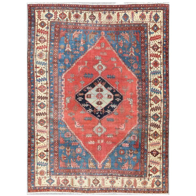 Antique Persian Large Bakshaish Serapi Rug