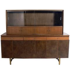 Modern Leather Front Credenza by Paul McCobb
