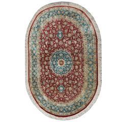 Magnificent Oval Persian Silk Qum Rug
