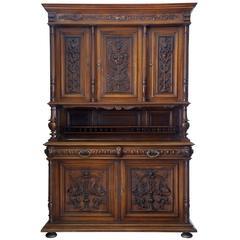 19th Century Flemish Carved Walnut Buffet Cabinet