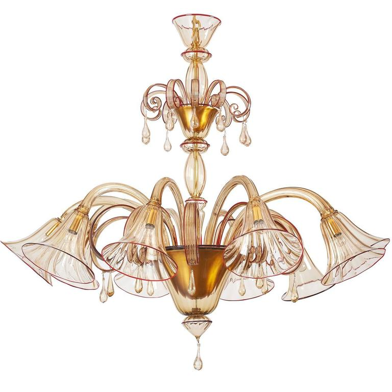 Red Murano Chandelier: Magnificent Murano Blown Glass Chandelier By Venini With
