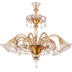 Magnificent Murano Blown Glass Chandelier by Venini with Red Accent, 1920s