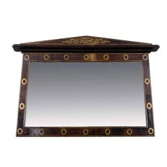 19th Century Mahogany Overmantel Mirror with Brass Inlay