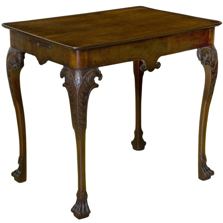 Etonnant George II Mahogany Tray Top Tea Table With Candle Slides, And Carved Eagle  Heads For