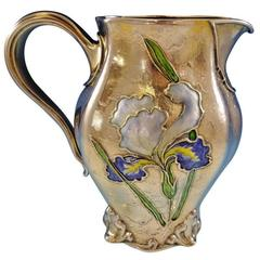 Gorham Enameled Rare Sterling Silver Water Pitcher with Iris, Dated 1897 Antique