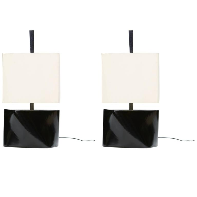 Pair of Modern Abstract Table Lamps by F.F. Kern in the Manner of Paul Laszlo