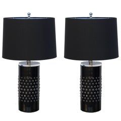 Pair of Unusual Textured Glass Cylinder Lamps with Custom Shades
