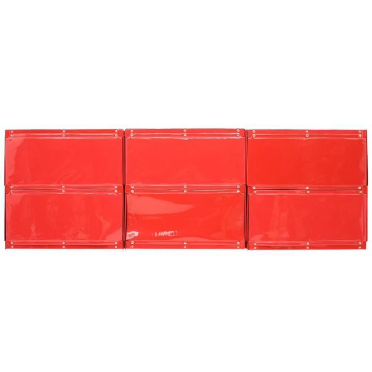 Rare Otto Zapf Red Plastic Shelf System, Germany, 1971, Indesign