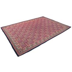 Large Multicolored Rug with Basket Weave Pattern