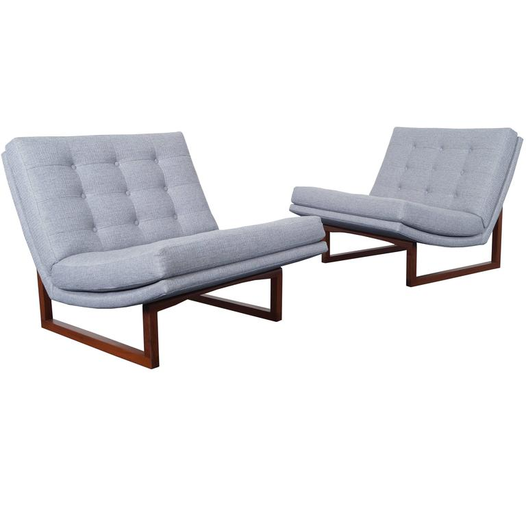 Vintage Tufted Walnut Lounge Chairs by Milo Baughman For Sale at 1stdibs